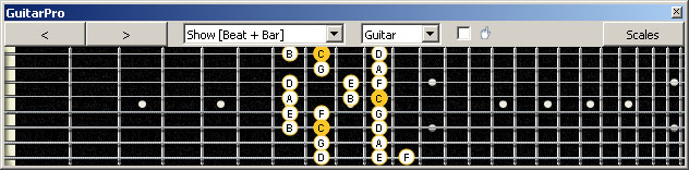 GuitarPro6 (8 string : Low G) C major scale : 6E4E1 box shape