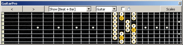 GuitarPro6 (8 string : Low G) C major scale : 7B5B2 box shape at 12