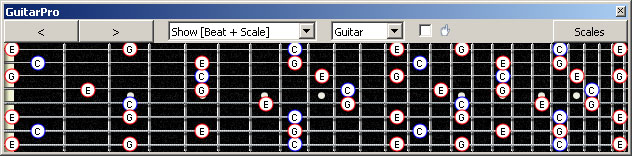 GuitarPro6 (Drop E : 8-string): C major arpeggio