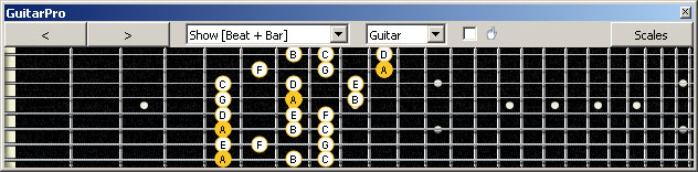 GuitarPro6 (8 string : Drop E) A minor scale (aeolian mode) 3nps : 8Em6Em4Dm2 box shape