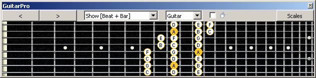 GuitarPro6 (8 string : Drop E) A minor scale (aeolian mode) 3nps : 7Bm5Bm2 box shape