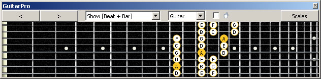 GuitarPro6 (8 string : Drop E) A minor scale (aeolian mode) 3nps : 7Bm5Am3 box shape