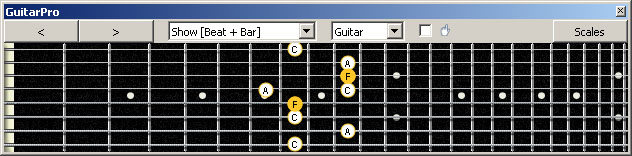 GuitarPro6 (8-string: Drop E) F major arpeggio : 5A3 box shape pdf