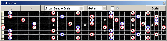 GuitarPro6 8-string Drop E: F major arpeggio