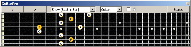GuitarPro6 (8 string : Drop E) F major arpeggio (3nps) : 7D4D2 box shape