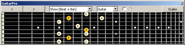 GuitarPro6 (8 string : Drop E) F major arpeggio (3nps) : 7B5B2 box shape