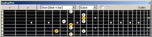 GuitarPro6 (8 string : Drop E) F major arpeggio (3nps) : 7B5A3 box shape
