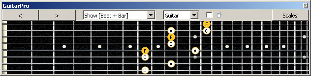 GuitarPro6 (8 string : Drop E) F major arpeggio (3nps) : 5A3G1 box shape