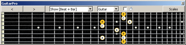 GuitarPro6 (8 string : Drop E) F major arpeggio (3nps) : 8G6G3G1 box shape