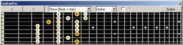 GuitarPro6 (8 string : Drop E) B locrian mode 3nps : 8G6G3G1 box shape