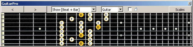 GuitarPro6 (8 string : Drop E) B locrian mode 3nps : 8E6E4E1 box shape