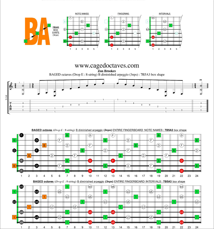 BAGED octaves (8-string : Drop E) B diminished arpeggio (3nps) : 7B5A3 box shape