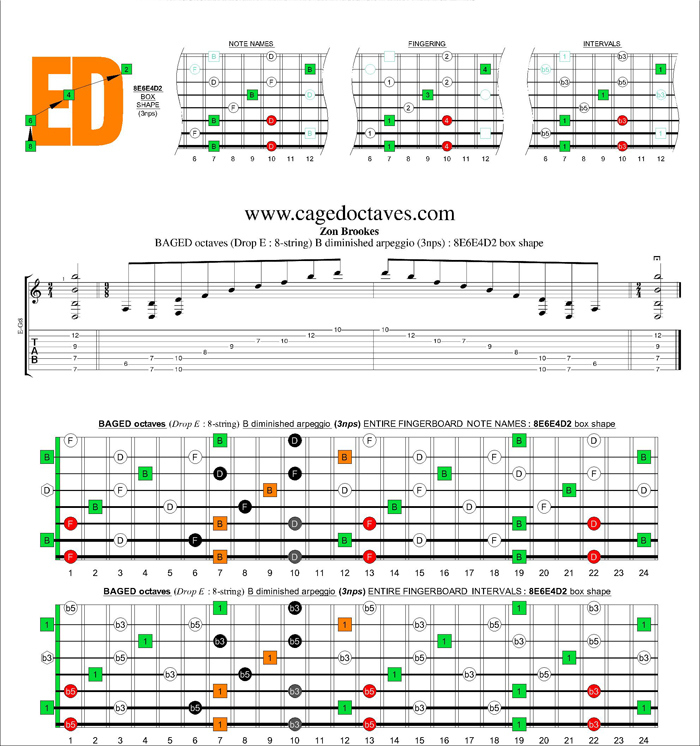BAGED octaves (8-string : Drop E) B diminished arpeggio (3nps) : 8E6E4D2 box shape