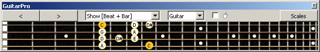 GuitarPro6 (4-string bass : Low E) C pentatonic major scale : 4G1 box shape