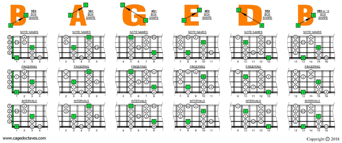 C major blues scale (5-string bass: Low B) box shapes