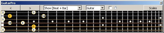 GuitarPro6 (6-string guitar : Standard tuning) C major-minor arpeggio : 5C2 box shape