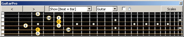 GuitarPro6 (6-string guitar : Standard tuning) C major-minor arpeggio : 5A3 box shape