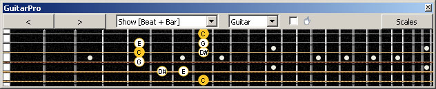 GuitarPro6 (6-string guitar : Standard tuning) C major-minor arpeggio : 6G3G1 box shape