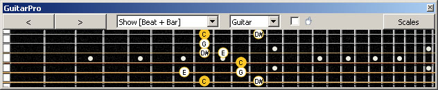GuitarPro6 (6-string guitar : Standard tuning) C major-minor arpeggio : 6E4E1 box shape