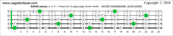 BAGED octaves fingerboard C major scale notes