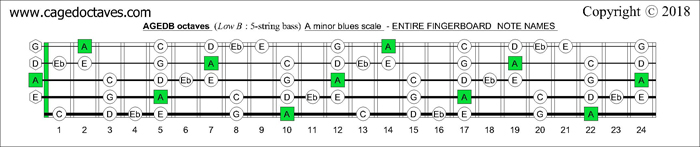 AGEDB octaves fingerboard A minor blues scale note names
