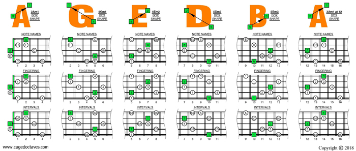AGEDB octaves A minor-diminished arpeggio box shapes