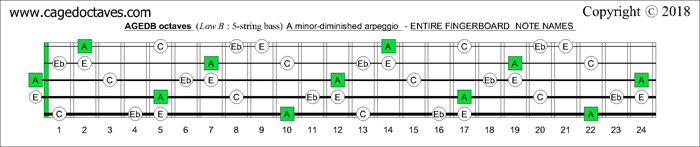 AGEDB octaves fingerboard A minor-diminished arpeggio note names