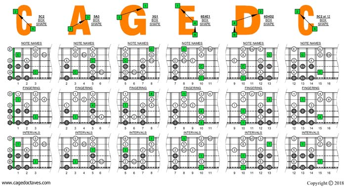 CAGED octaves C major blues scale box shapes