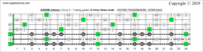AGEDB octaves Drop A: 7-string guitar fingerboard A minor blues scale - intervals