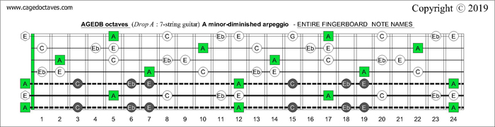 AGEDB octaves Drop A: 7-string guitar fingerboard A minor-diminished arpeggio - notes
