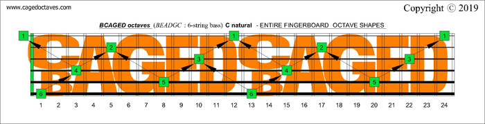 BCAGED octaves fingerboard : C natural octaves