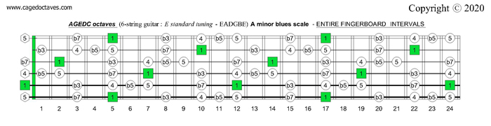 AGEDC octaves fingerboard A minor blues scale intervals