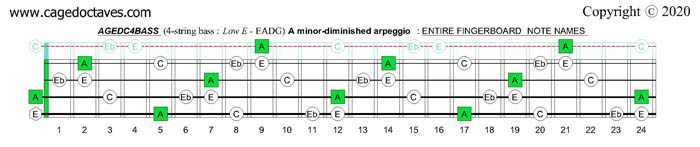 A minor-diminished arpeggio : AGEDC4BASS fingerboard notes