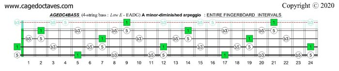 A minor-diminished arpeggio : AGEDC4BASS fingerboard intervals