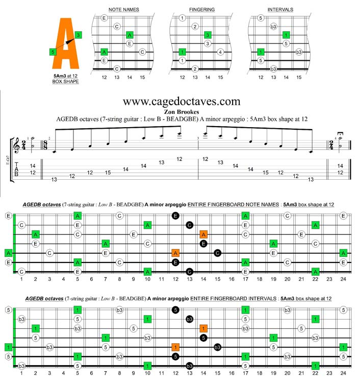 AGEDB octaves A minor arpeggio : 5Am3 box shape at 12