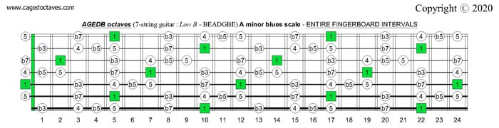 AGEDB octaves (7-string guitar): A minor blues scale entire fretboard intervals